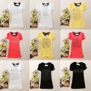 大量夏季短袖T恤便宜服装批发女图片