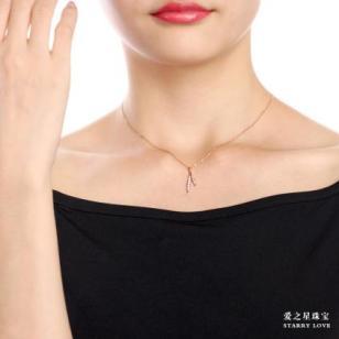 爱之星珠宝18K玫瑰金钻石吊坠图片