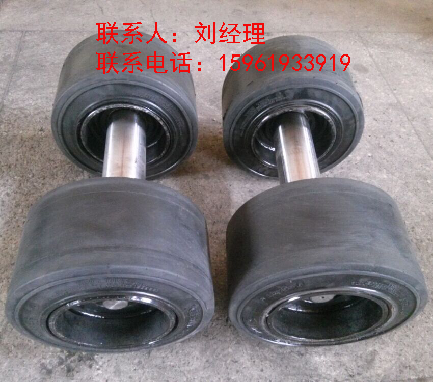 供应平板拖车车架总成配AnyGo实心轮胎13.5x7.5x8