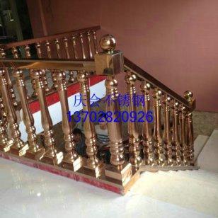 供应欧式立柱扶手,不锈钢镜面玫瑰金扶手栏杆,酒店走廊钛金护栏|欧式