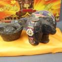 普洱茶工艺茶雕小象吉祥物带茶元宝图片