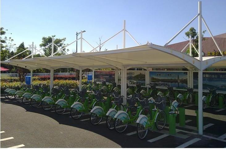 供应用于膜结构车棚的膜结构自行车棚钢结构雨棚遮阳棚厂