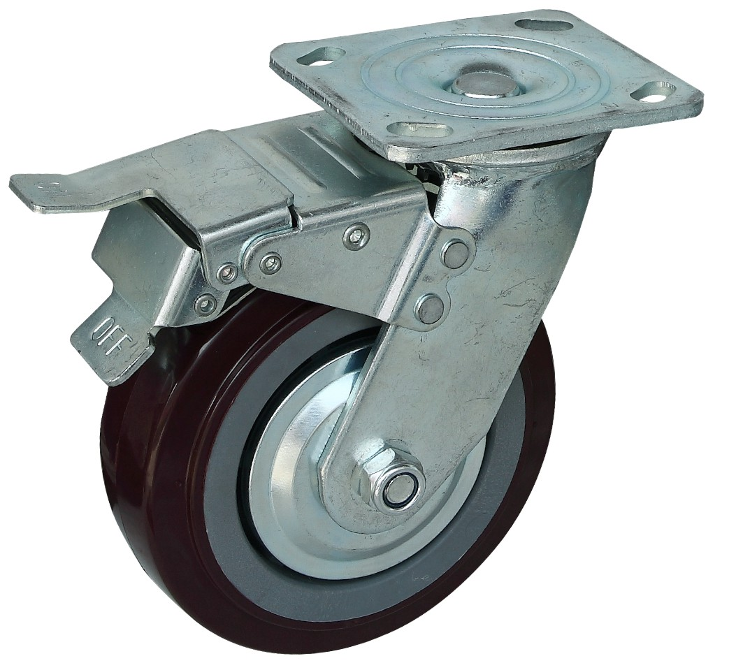 6寸重型枣红PU刹车轮 6寸重型枣红PU刹车轮厂家批发