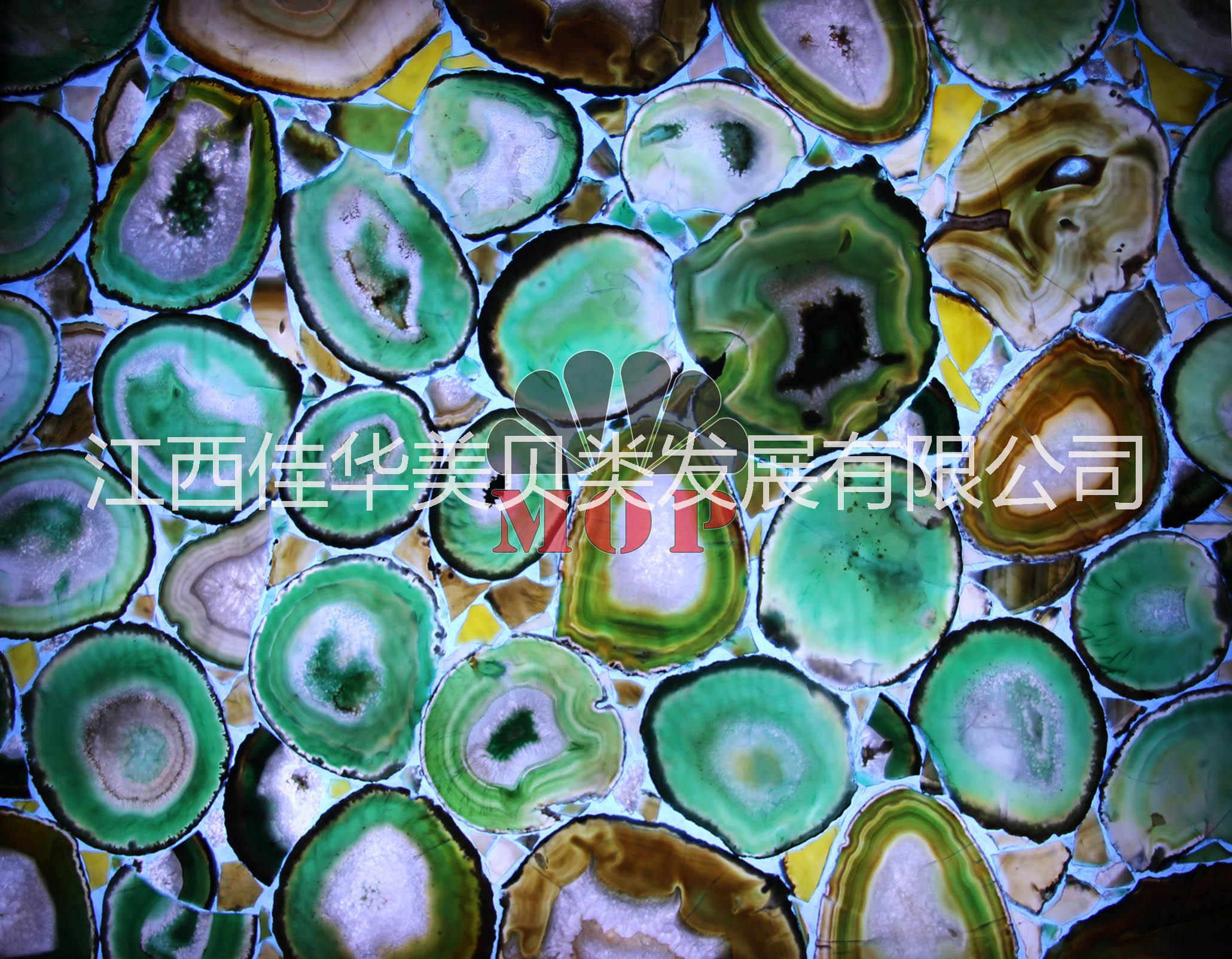 供应天然宝石板,复合板蓝绿色玛瑙透