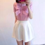 时尚雪纺衫+纯色休闲短裤 两件套图片