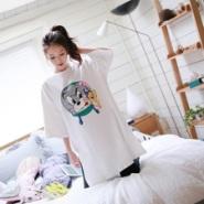 卡通猫老鼠印花宽松大码中长款t恤图片