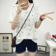 时尚磨破 水彩印花 夏季休闲t恤图片