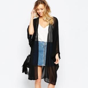 时尚纯色 雪纺防晒衫长款罩衫外套图片