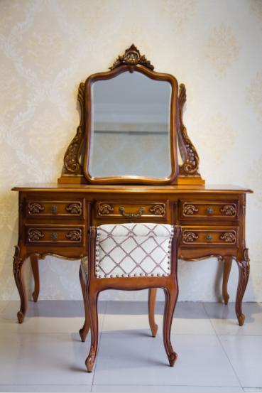 供应欧式实木梳妆台梳妆凳