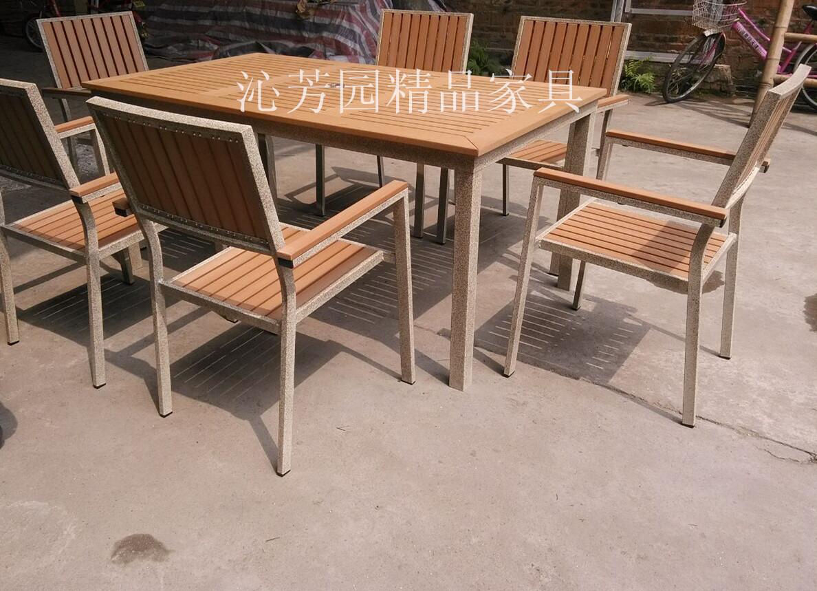 供应户外家具塑木休闲咖啡厅园林餐桌椅 防腐塑木家具 铸铝桌椅组合