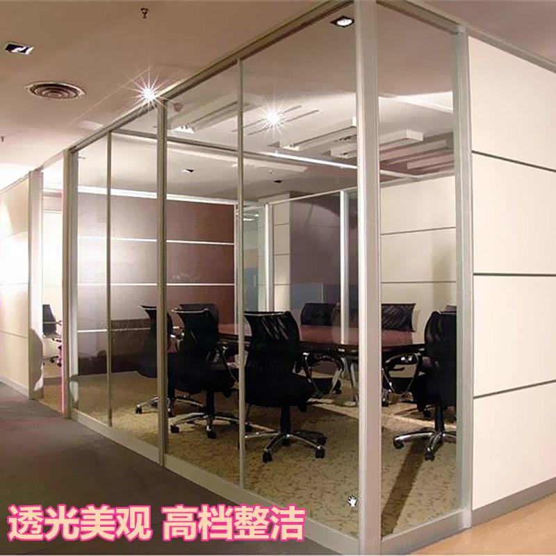 供应84款单玻办公隔断 高隔断办公室玻璃隔墙 通透明亮单双层钢化玻璃