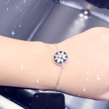 供应新款纯银925时尚日韩版迪奥手链  时尚镶嵌黑玛瑙纯银手链现货批发