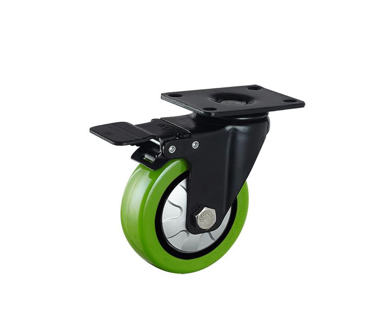 供应中型平底活动耐磨苹果绿PU轮/供应中型固定耐磨苹果绿PU轮/供应中型刹车耐磨苹果绿PU轮