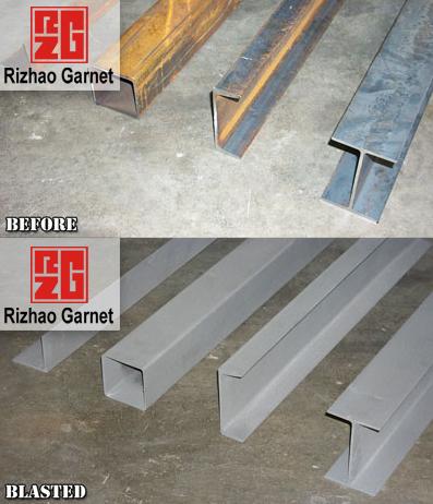 供应钢结构喷砂除锈石英砂石榴砂用量