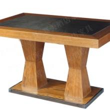 供应实木内镶火烧石中餐桌