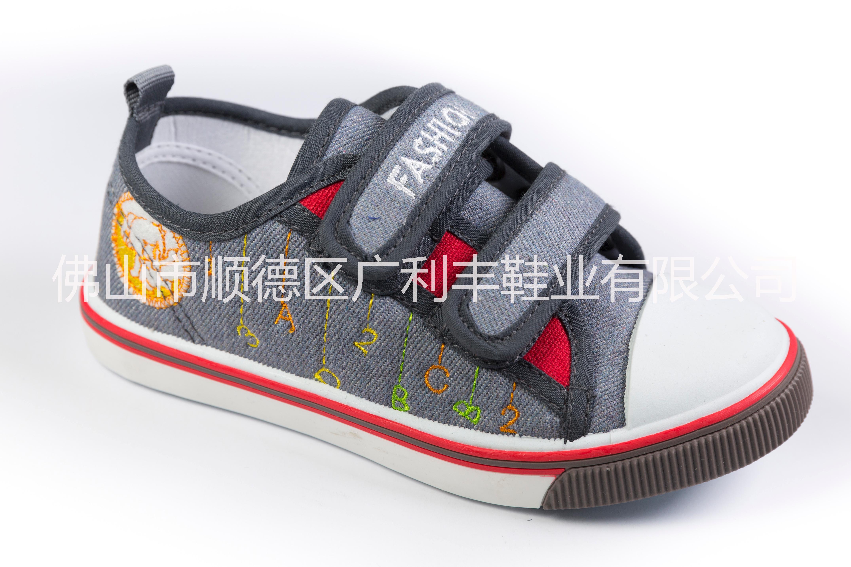 新款布童鞋供应,新款百搭休闲舒适男女大中童魔术贴透气布童鞋
