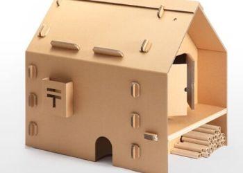 定做创意纸艺瓦楞儿童纸房屋报价图片