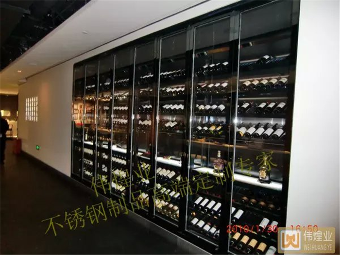 酒店酒吧的钛黑不锈钢酒柜 高档玫瑰金酒柜