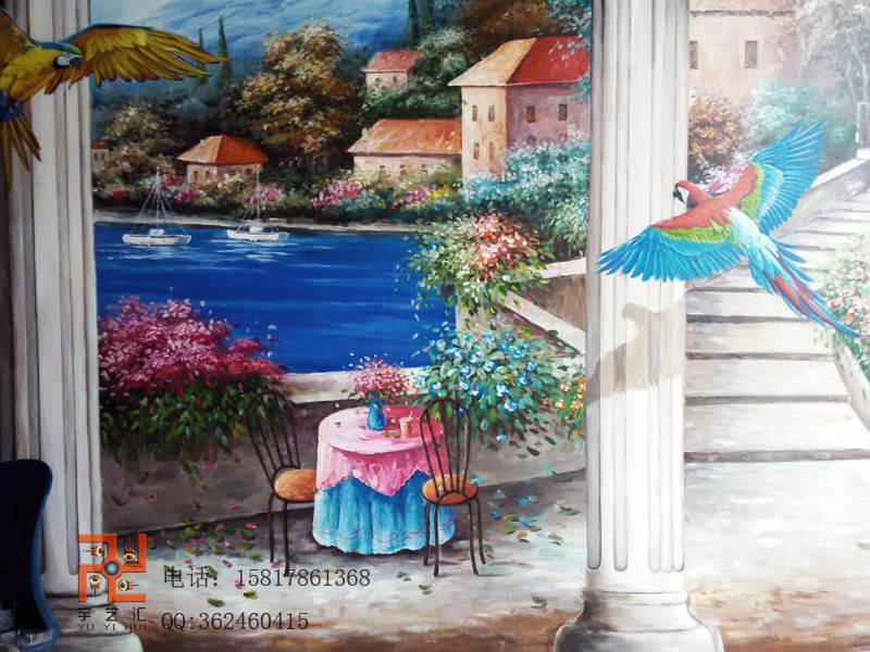 供应广州佛山酒窖咖啡厅壁画3d手绘画
