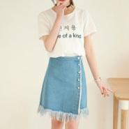 韩版短裙流苏下摆牛仔裙半身裙图片