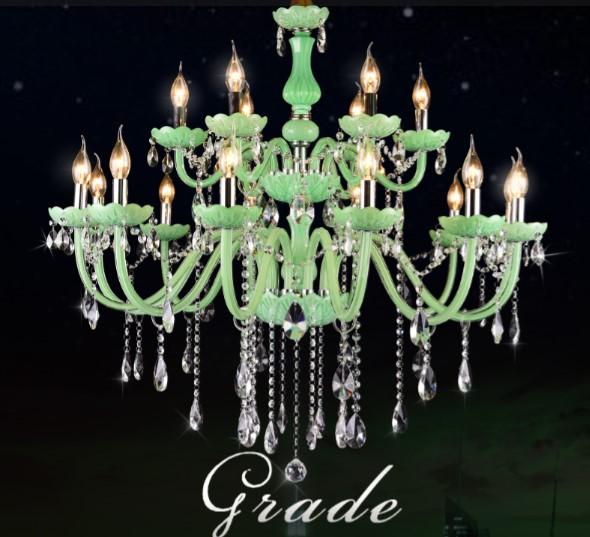新欧式绿色蜡烛水晶吊灯图片大全