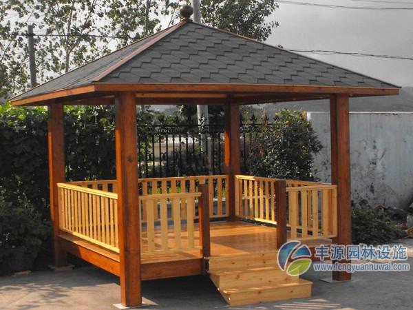 彩瓦户外凉亭优质钢结构塑木四角亭价格