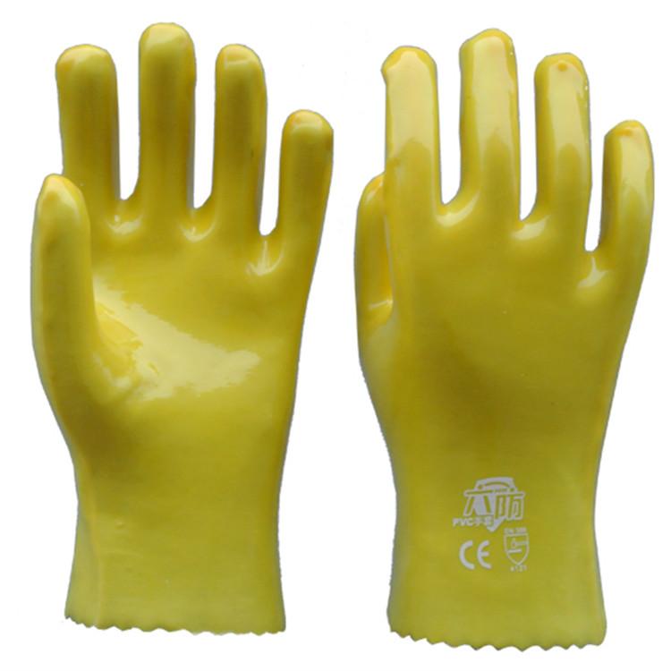 黄色PVC劳保手套 光面棉布内衬防油耐酸碱工业防护用品 28cm