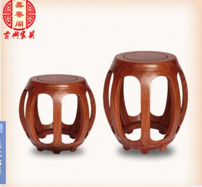 顺德花梨木圆凳批发,实木客厅矮凳生产厂家,实木客厅矮凳专门定做 江门中式仿古红木鼓凳