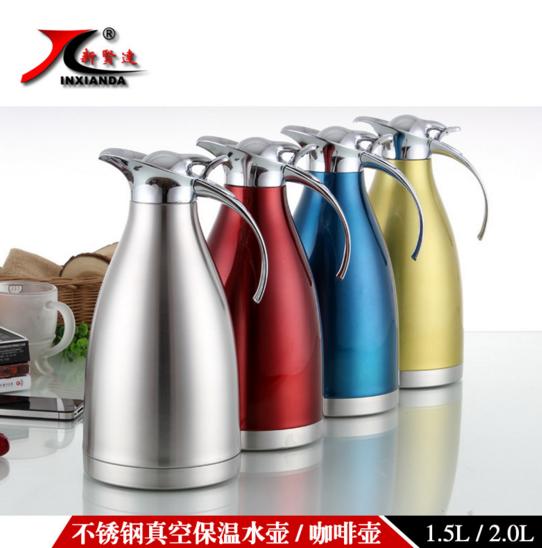 不锈钢欧式双层真空保温壶咖啡壶图片|不锈钢欧式