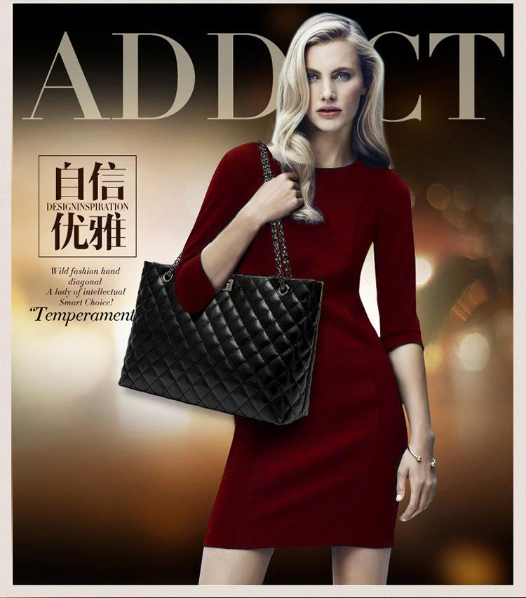 广州女包工厂 韩版时尚菱格纹链条真皮包单肩包潮