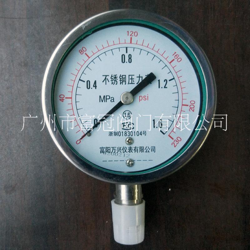 广州压力表批发,全不锈钢压力表,径向压力表,Y100B压力表厂家