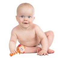 Happy Monkey 动物款婴儿玩具摇铃早教益智毛绒玩具 宝宝安抚手摇帮 - 动物手摇棒