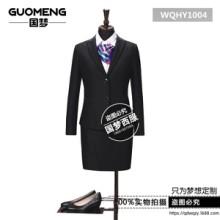 黄岛开发区职业装定制两粒扣女式西服套装黑韩版OL正装青岛西服厂家