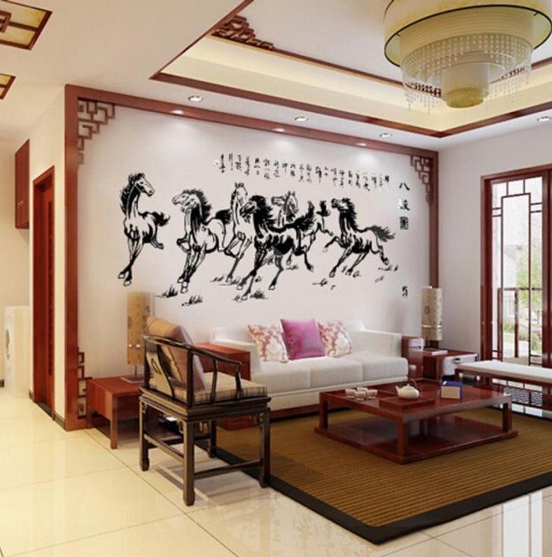 八骏图3d亚克力立体墙贴客厅墙面客厅立体价格