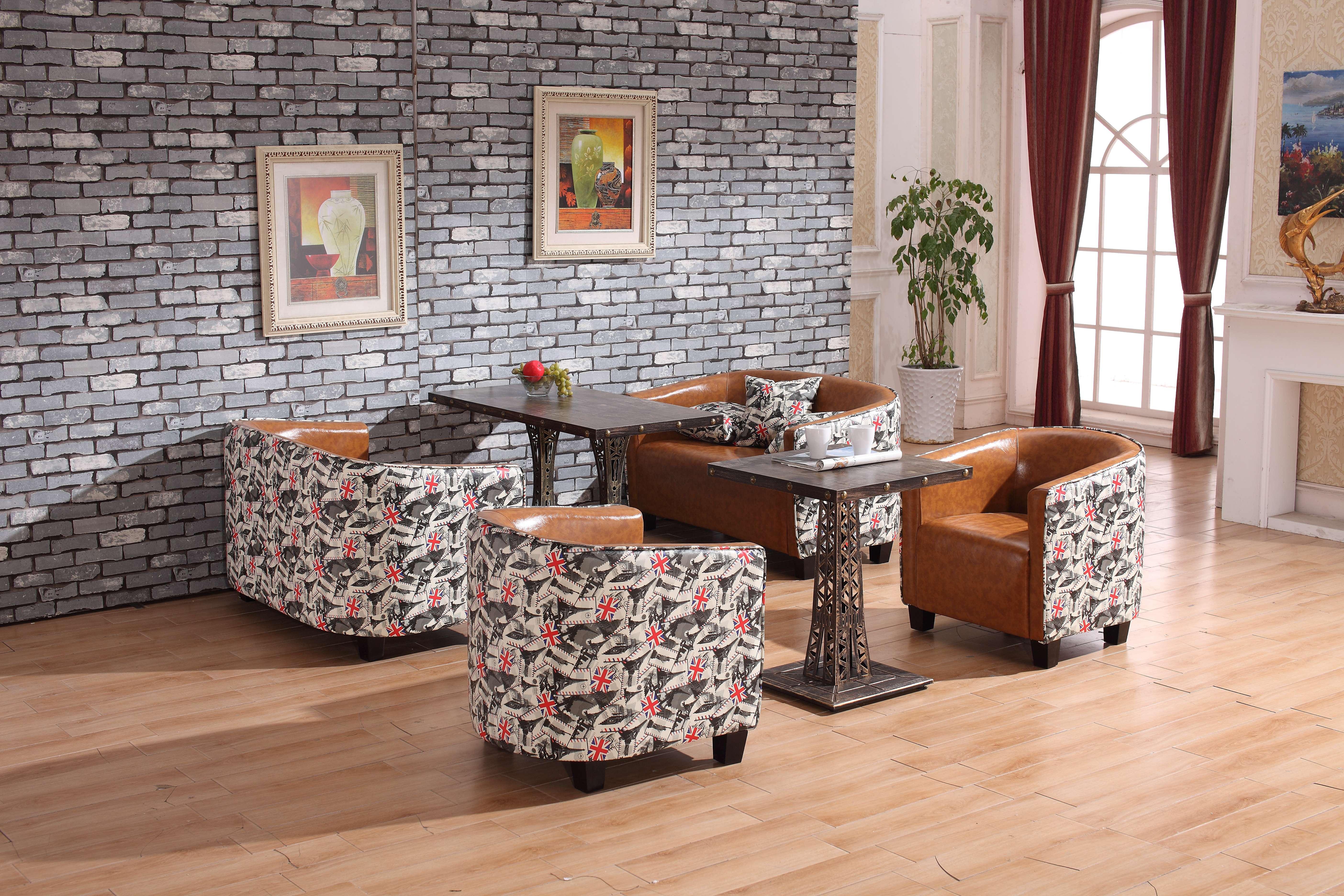 咖啡厅奶茶店休闲沙发 铆钉沙发卡座桌椅组合 厂家直销西餐厅沙发 厂家咖啡厅个性简约沙发定做