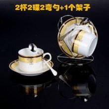 骨瓷咖啡杯带碟勺子,欧式陶瓷咖啡杯套装情侣套装 创意2件套 骨瓷咖啡杯带碟勺子架子批发