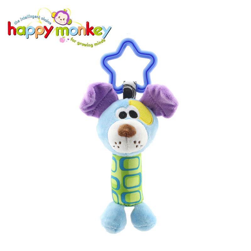 Happy Monkey 车床挂手摇铃玩具动物风铃毛绒玩具 星星车床挂小公仔 - 小狗狗