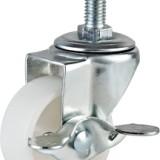 2寸轻型白PP螺杆边刹轮 2寸轻型白PP螺杆边刹轮生产厂家直销