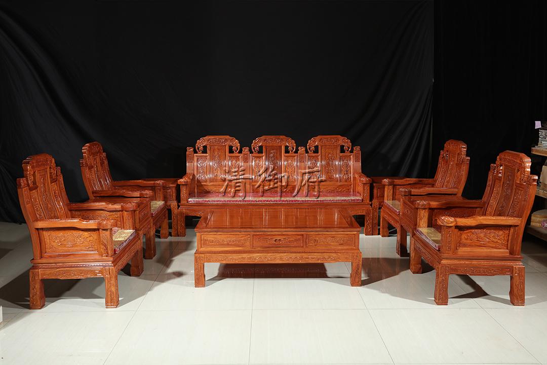 清御府缅花小象头沙发Qyf002,花梨木沙发,东阳红木家具厂家