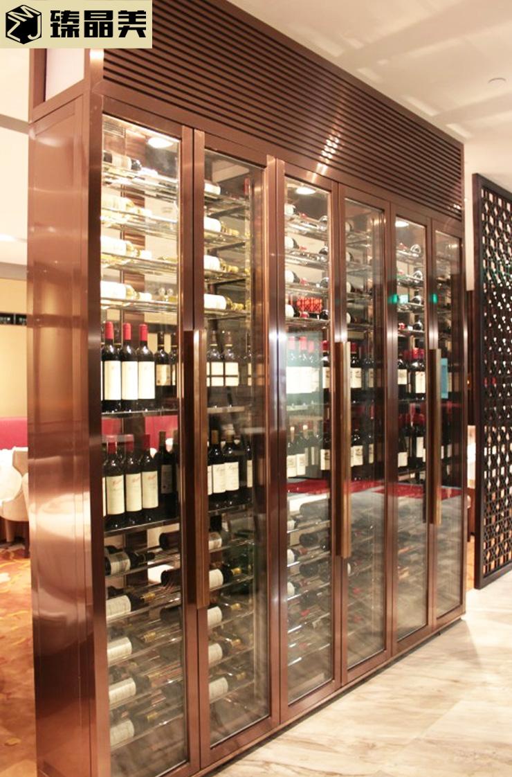 西餐厅酒店装饰不锈钢酒柜 不锈钢酒架红酒架来图定制 佛山不锈钢酒柜厂家