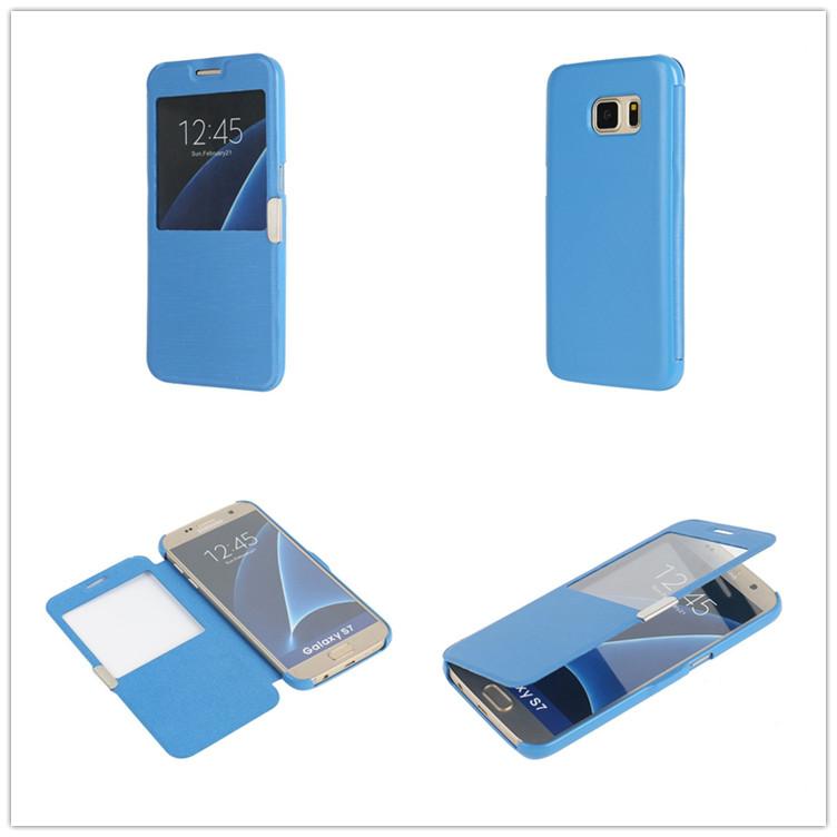 三星s7单窗磁扣保护壳 Galaxy S7 Case带磁扣手机保护套  左右翻磁扣对吸手机套