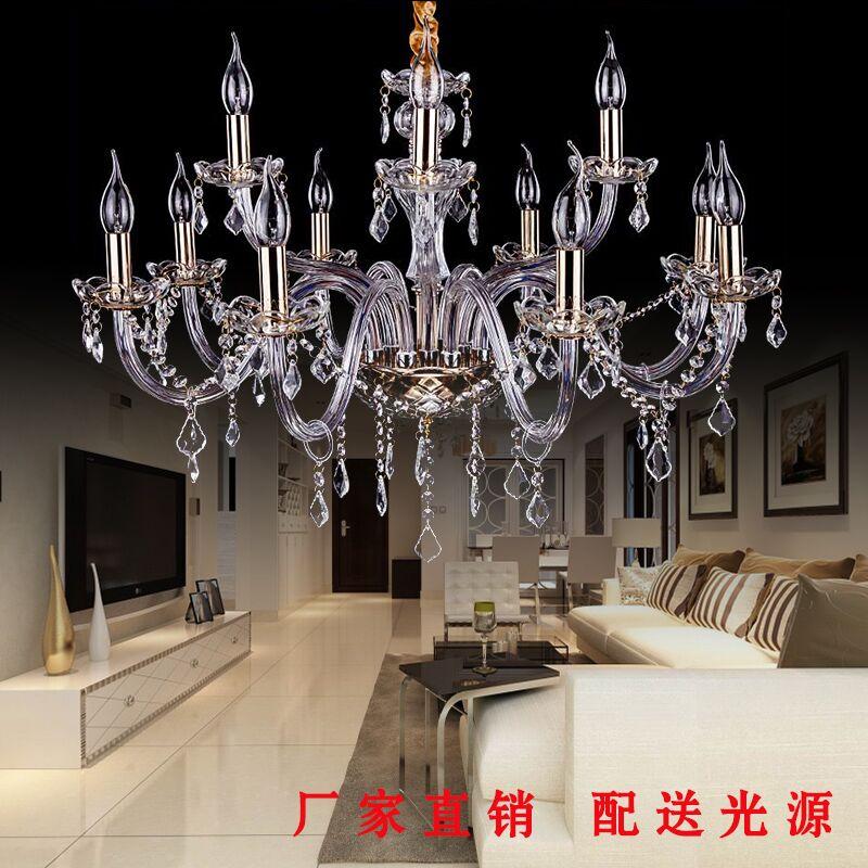 欧式led吸顶灯蜡烛水晶灯现代客厅灯温馨卧室餐厅