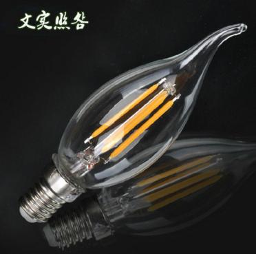 厂家批发C35 E14S 节能 LED灯丝灯 尖泡 拉尾 蜡烛灯泡 360独立吊灯