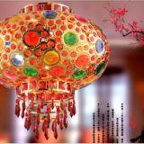 现代中式阳台大门七彩旋转灯笼吊灯