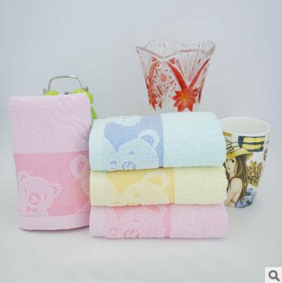广东柏顿素色宽边双熊毛巾厂家直销纯棉超细纤维32股毛巾产地货源