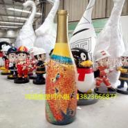 艺术展览馆玻璃钢酒瓶模型雕塑图片