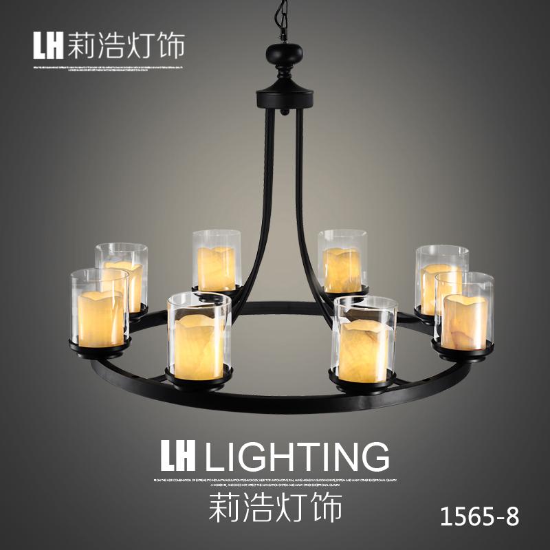 莉浩 北欧简约云石客厅灯 美式卧室温馨铁艺吊灯LH-1565-8+LED光源