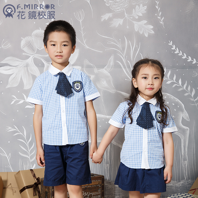 夏季格子短袖幼儿园学生礼服定做