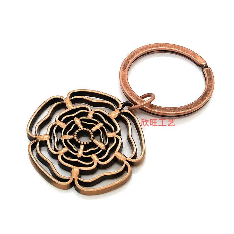 锌合金压铸花型镂空镀古钥匙扣 金属钥匙扣定做厂家 锁匙扣定做