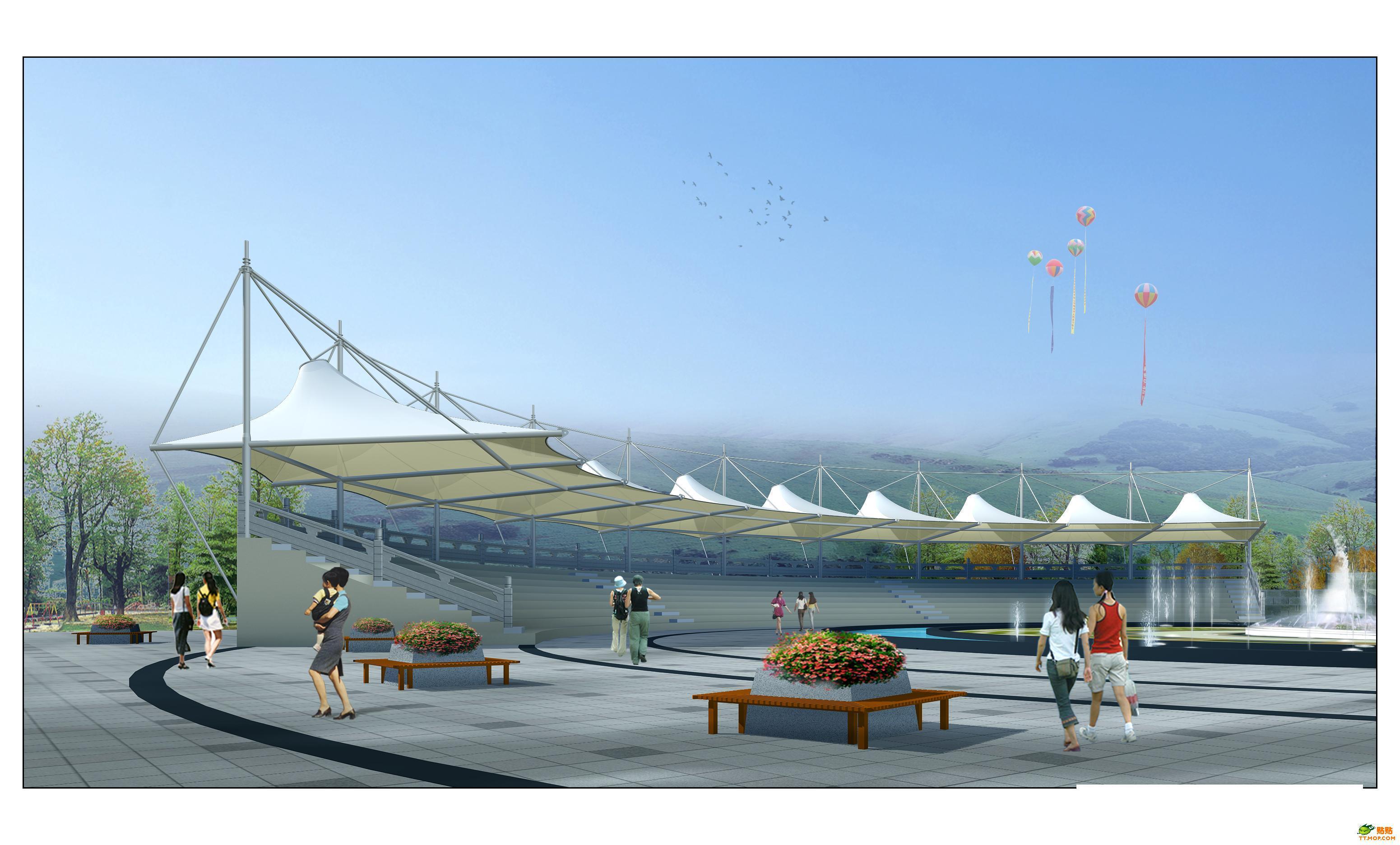 贵州广场膜结构 休闲广场张拉膜 公园张拉膜 广场小品膜